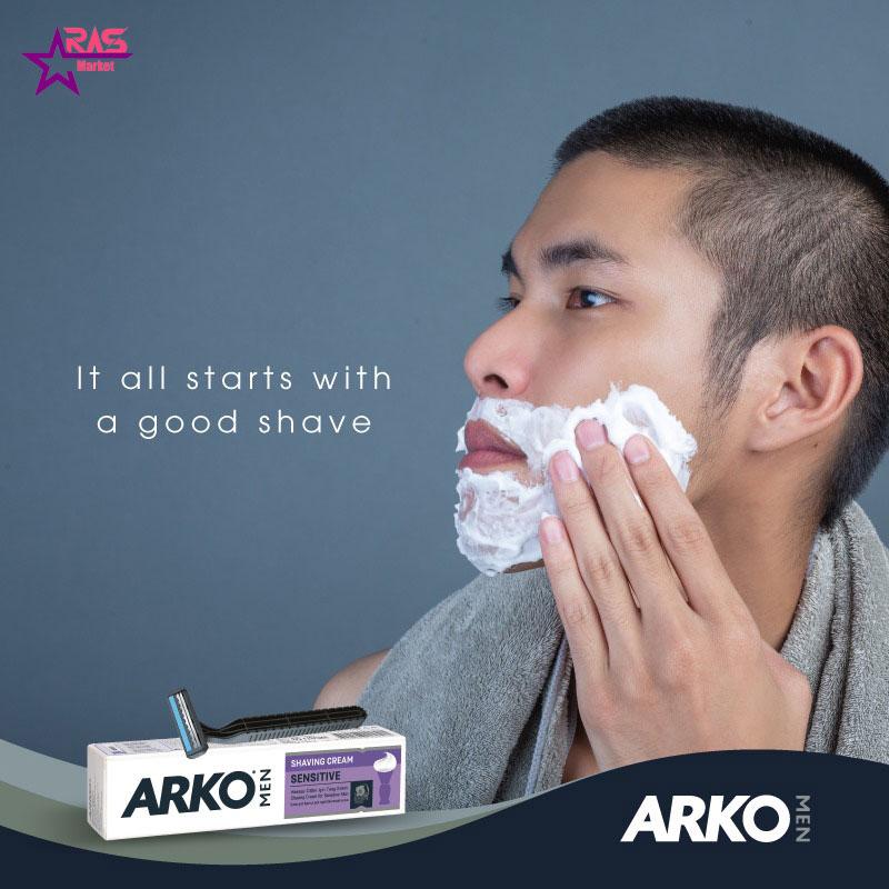 خمیر اصلاح آرکو مدل Sensitive مخصوص پوست های حساس 100 میلی لیتر ، فروشگاه اینترنتی ارس مارکت ، بهداشت آقایان ، arko shaving cream