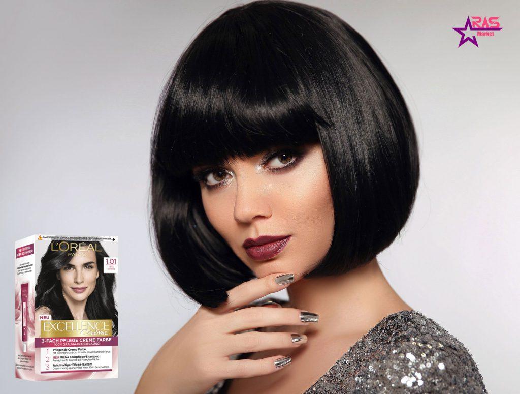 کیت رنگ مو لورآل سری Excellence شماره 1.01 ، خرید اینترنتی محصولات شوینده و بهداشتی ، بهداشت بانوان ، ارس مارکت