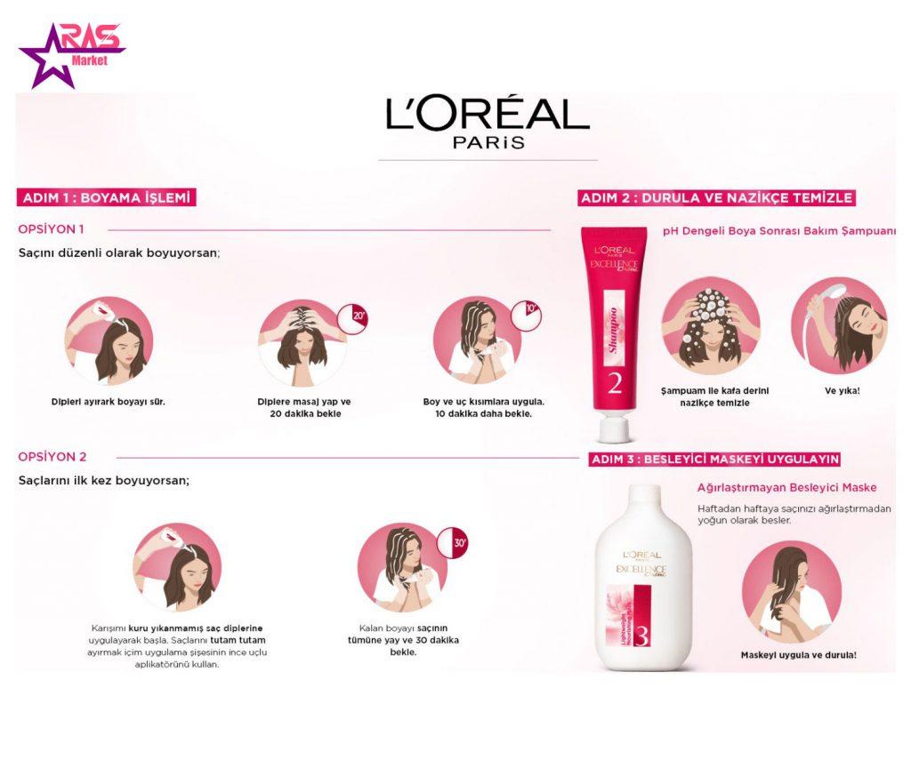 کیت رنگ مو لورآل سری Excellence شماره 1.01 ، خرید اینترنتی محصولات شوینده و بهداشتی ، بهداشت بانوان ، aras market