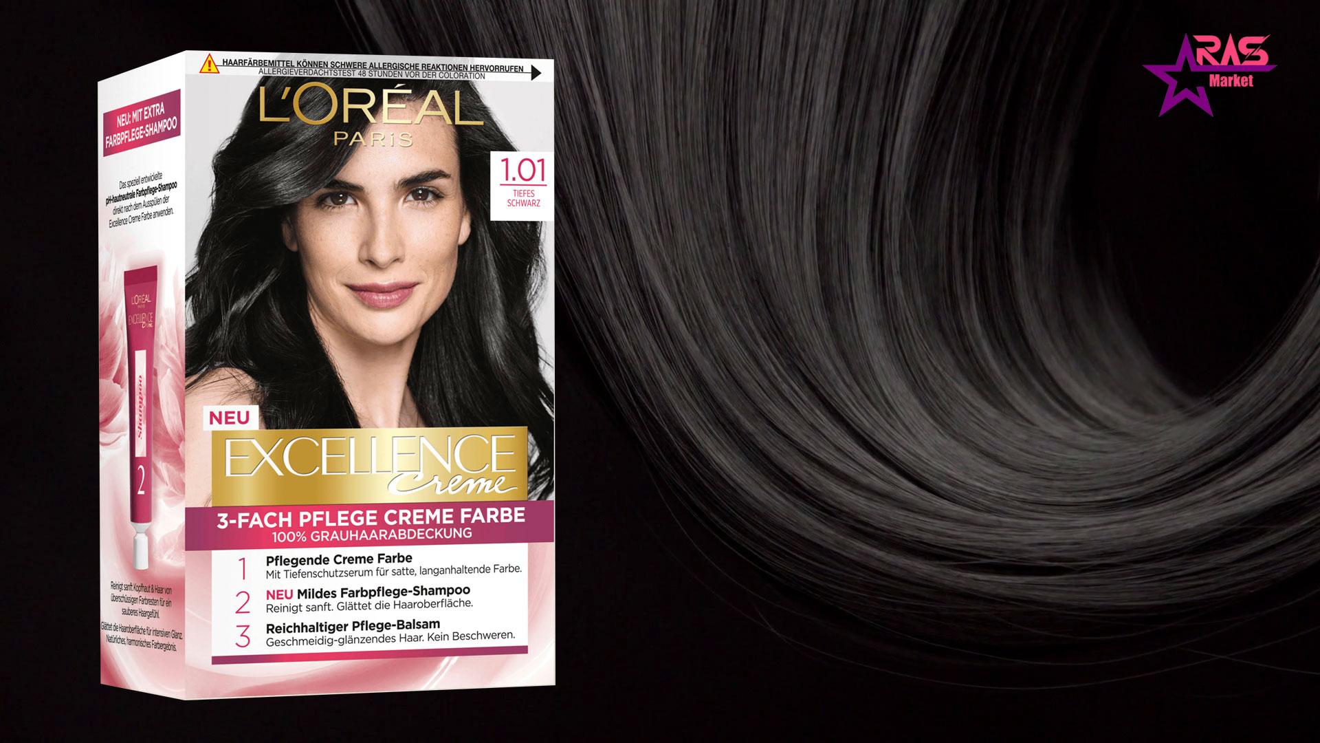 کیت رنگ مو لورآل سری Excellence شماره 1.01 ، خرید اینترنتی محصولات شوینده و بهداشتی ، بهداشت بانوان