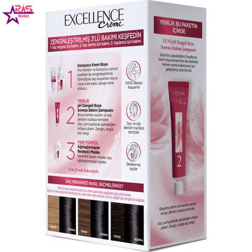 کیت رنگ مو لورآل سری Excellence شماره 1.01 ، فروشگاه اینترنتی ارس مارکت ، بهداشت بانوان ، رنگ موی بانوان