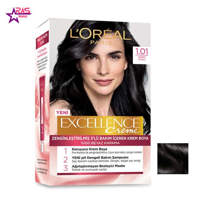 کیت رنگ مو لورآل سری Excellence شماره 1.01 ، فروشگاه اینترنتی ارس مارکت ، بهداشت بانوان ، loreal hair color