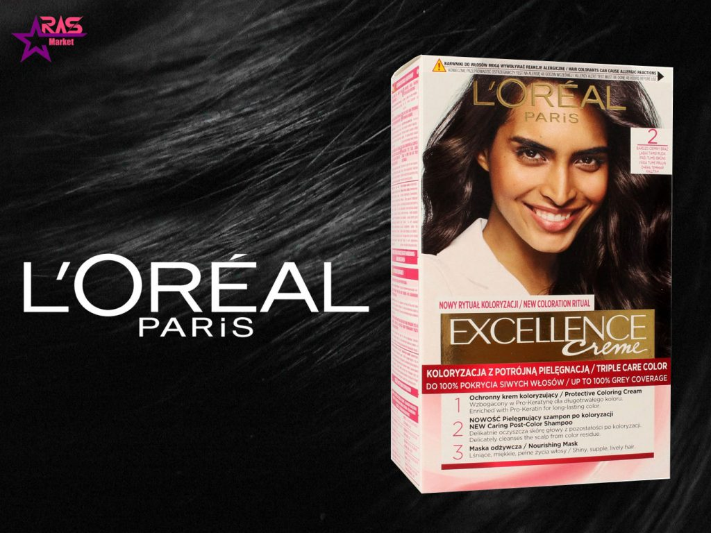 کیت رنگ مو لورآل سری Excellence شماره 2 ، خرید اینترنتی محصولات شوینده و بهداشتی ، بهداشت بانوان ، loreal