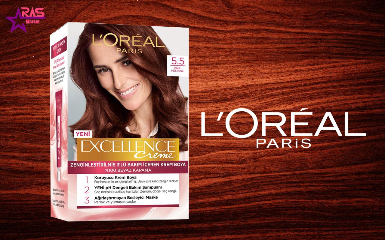 کیت رنگ مو لورآل سری Excellence شماره 5.5 ، خرید اینترنتی محصولات شوینده و بهداشتی ، بهداشت بانوان