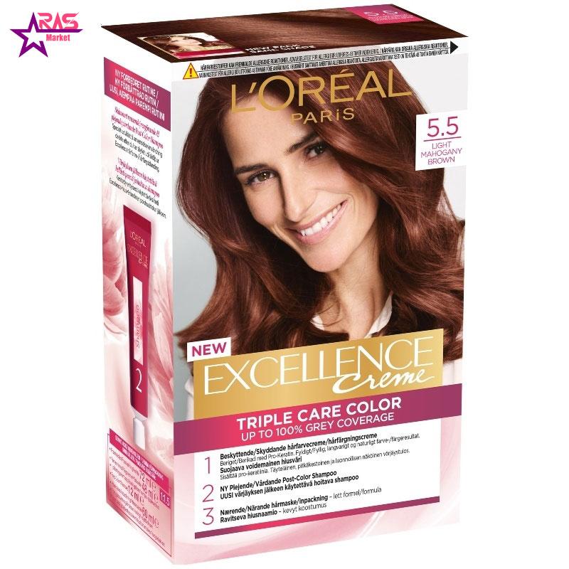 کیت رنگ مو لورآل سری Excellence شماره 5.5 ، فروشگاه اینترنتی ارس مارکت ، بهداشت بانوان ، رنگ موی بانوان