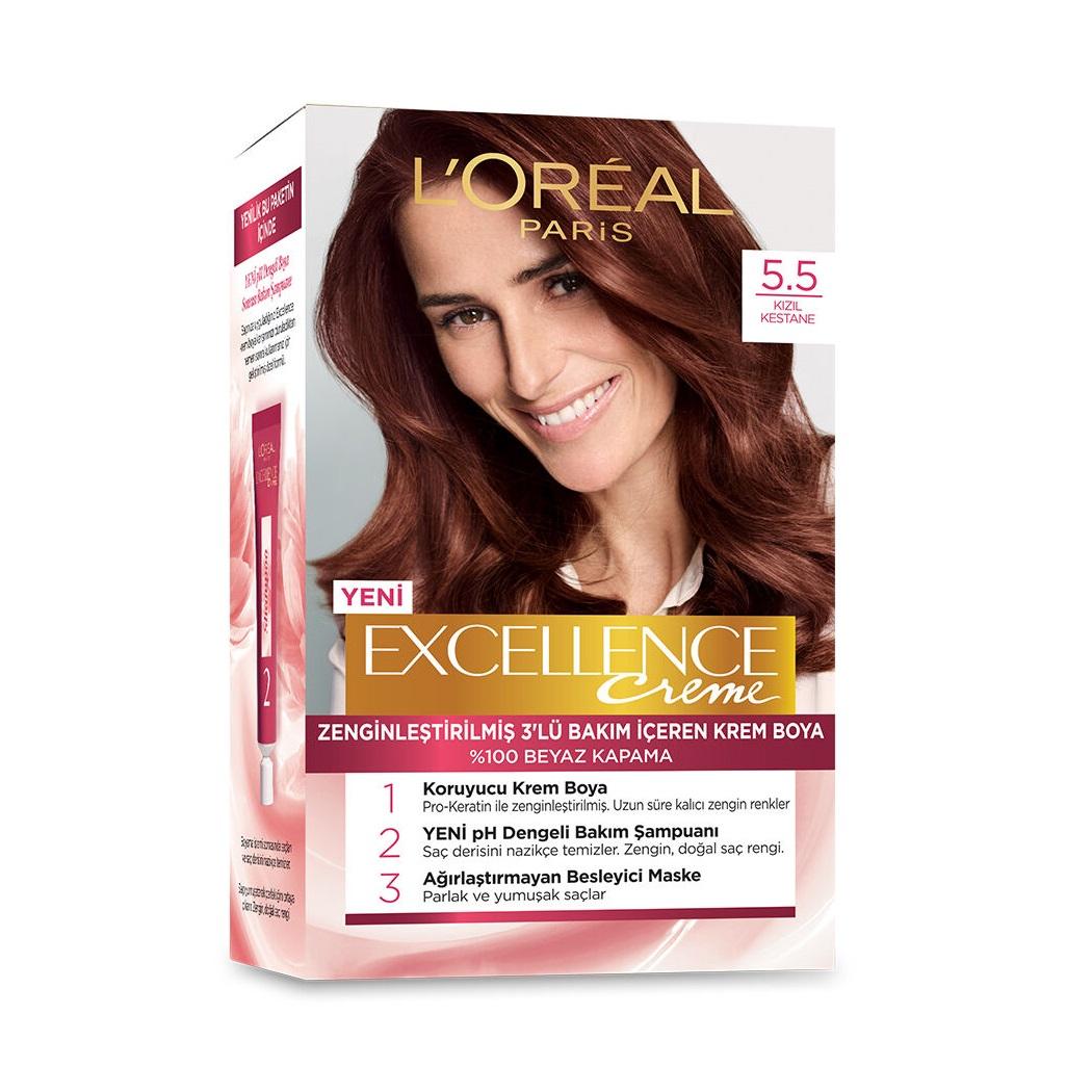 کیت رنگ مو لورآل سری Excellence شماره 5.5