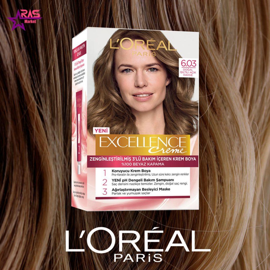 کیت رنگ مو لورآل سری Excellence شماره 6.03 ، خرید اینترنتی محصولات شوینده و بهداشتی ، بهداشت بانوان ، loreal