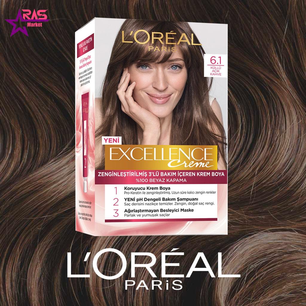 کیت رنگ مو لورآل سری Excellence شماره 6.1 ، خرید اینترنتی محصولات شوینده و بهداشتی ، بهداشت بانوان ، loreal