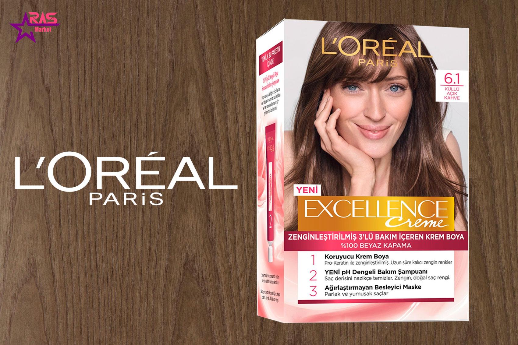 کیت رنگ مو لورآل سری Excellence شماره 6.1 ، خرید اینترنتی محصولات شوینده و بهداشتی ، بهداشت بانوان
