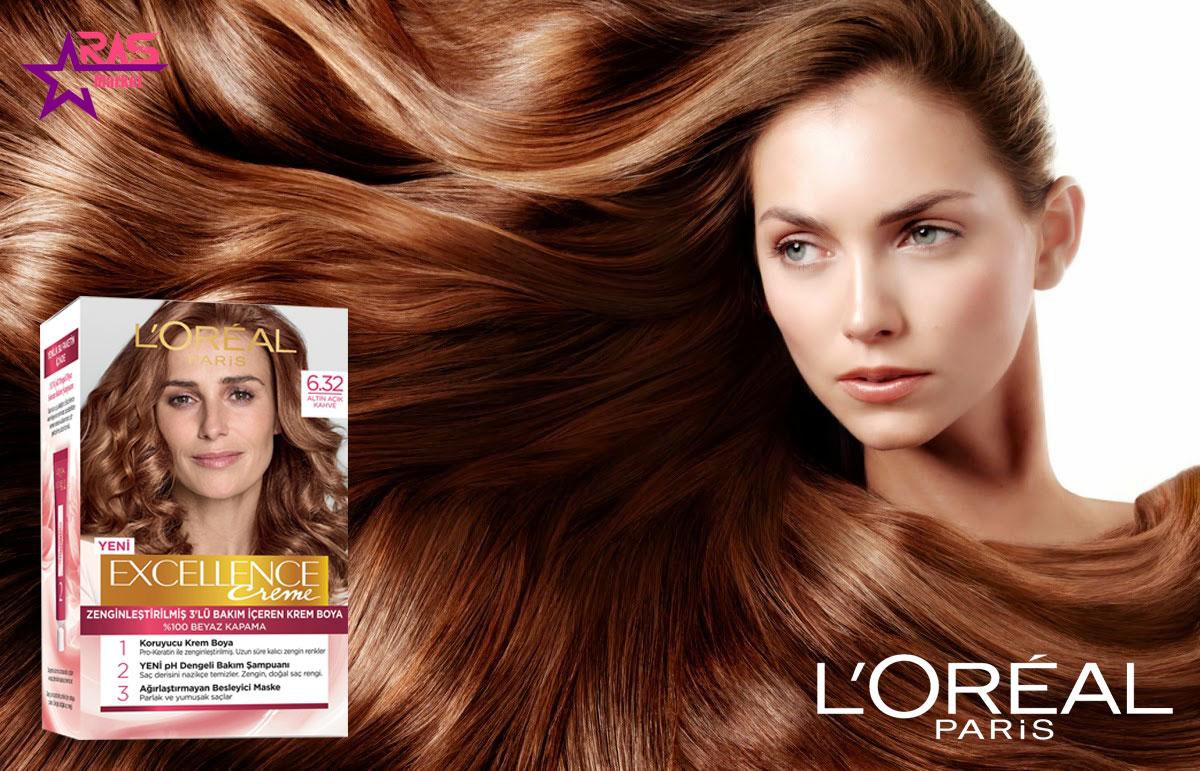 کیت رنگ مو لورآل سری Excellence شماره 6.32 ، خرید اینترنتی محصولات شوینده و بهداشتی ، بهداشت بانوان ، رنگ موی زنانه