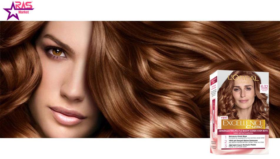 کیت رنگ مو لورآل سری Excellence شماره 6.32 ، خرید اینترنتی محصولات شوینده و بهداشتی ، بهداشت بانوان ، loreal