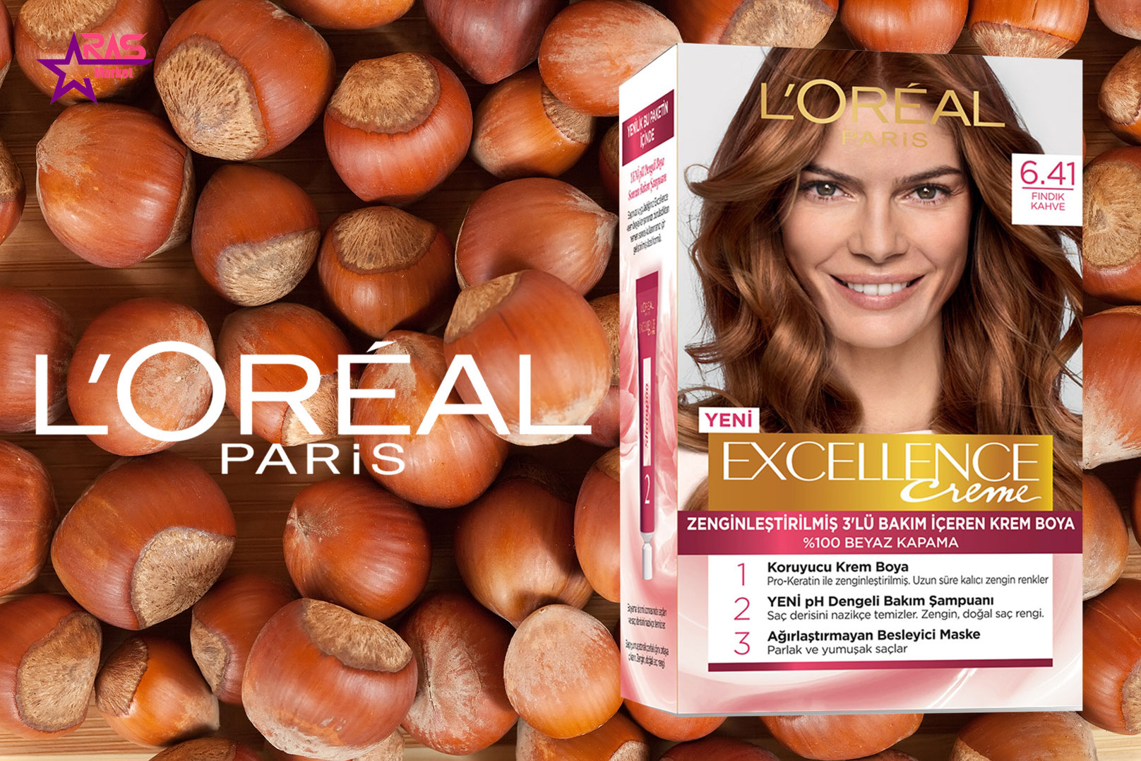 کیت رنگ مو لورآل سری Excellence شماره 6.41 ، خرید اینترنتی محصولات شوینده و بهداشتی ، بهداشت بانوان