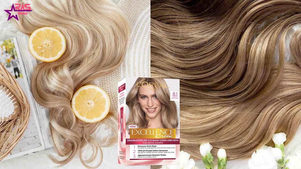 کیت رنگ مو لورآل سری Excellence شماره 8.1 ، خرید اینترنتی محصولات شوینده و بهداشتی ، بهداشت بانوان ، رنگ موی زنانه