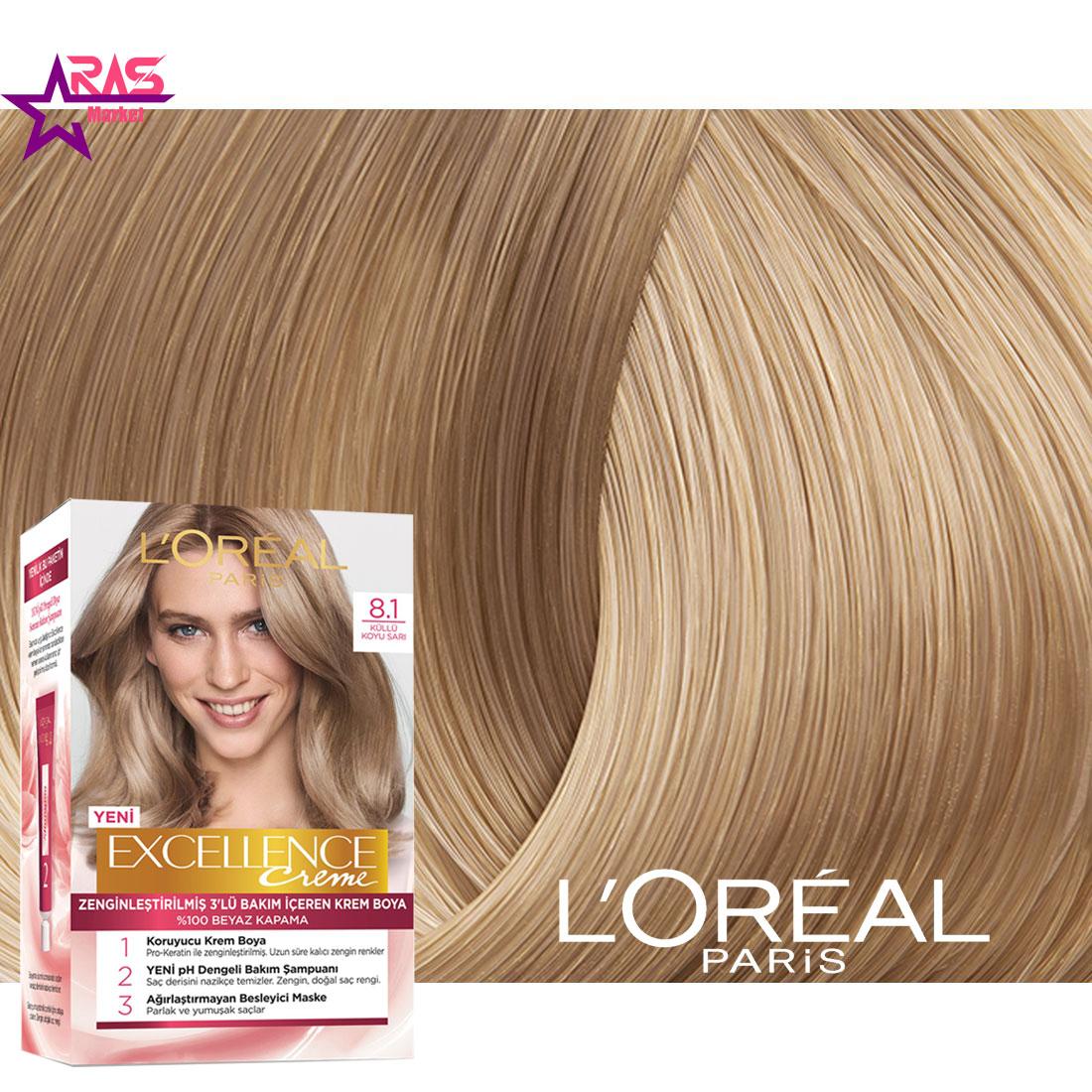 کیت رنگ مو لورآل سری Excellence شماره 8.1 ، خرید اینترنتی محصولات شوینده و بهداشتی ، بهداشت بانوان