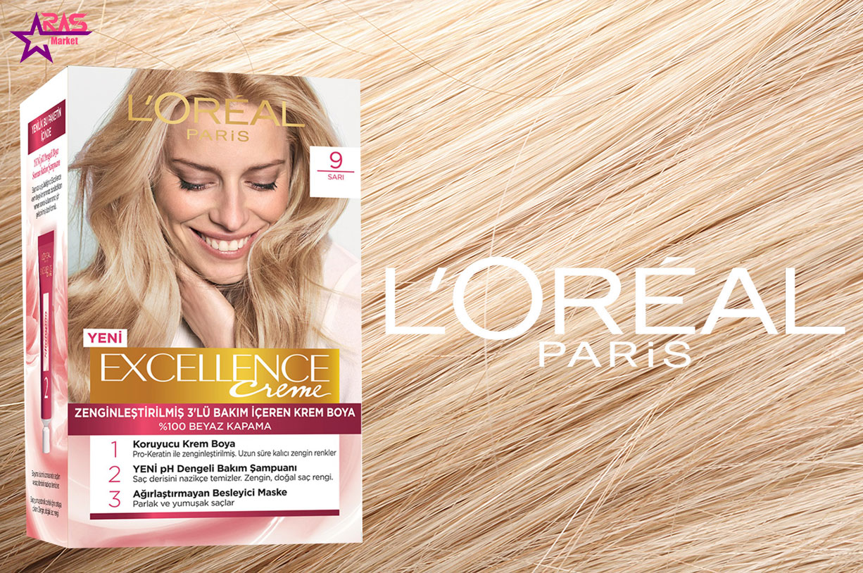 کیت رنگ مو لورآل سری Excellence شماره 9 ، خرید اینترنتی محصولات شوینده و بهداشتی ، بهداشت بانوان