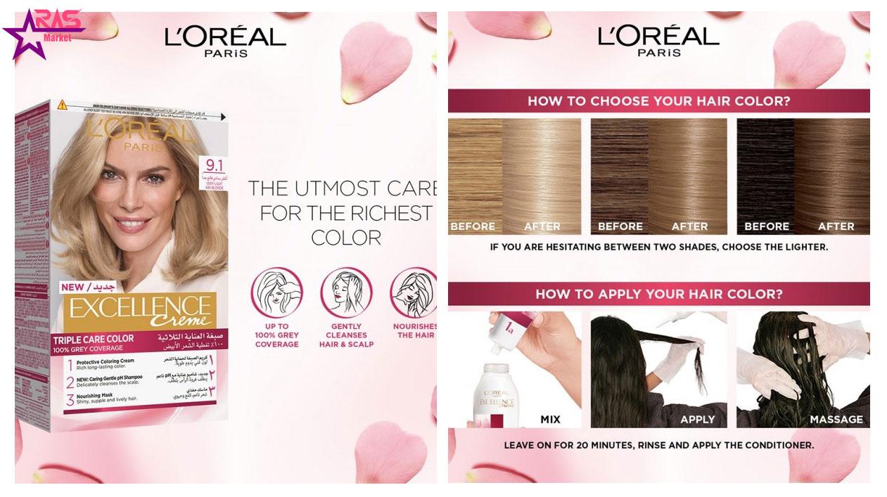 کیت رنگ مو لورآل سری Excellence شماره 9.1 ، خرید اینترنتی محصولات شوینده و بهداشتی ، ارس مارکت