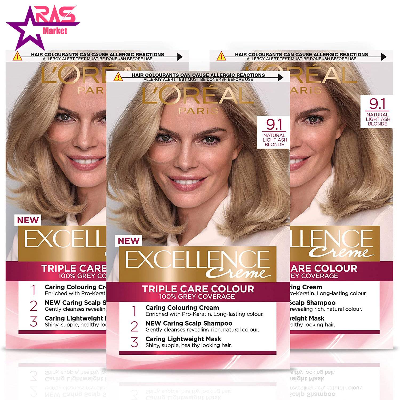کیت رنگ مو لورآل سری Excellence شماره 9.1 ، فروشگاه اینترنتی ارس مارکت ، بهداشت بانوان ، رنگ مو بانوان