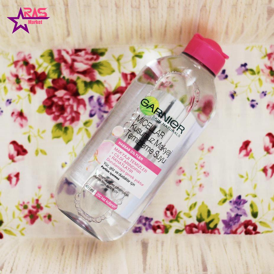 محلول آرایش پاک کن گارنیر مدل Micellar مخصوص پوست های حساس 400 میلی لیتر ، خرید اینترنتی محصولات شوینده و بهداشتی ، ارس مارکت
