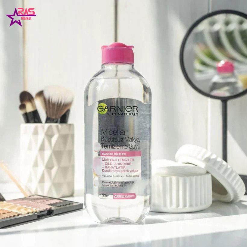 محلول آرایش پاک کن گارنیر مدل Micellar مخصوص پوست های حساس 400 میلی لیتر ، فروشگاه اینترنتی ارس مارکت ، آرایش پاک کن garnier
