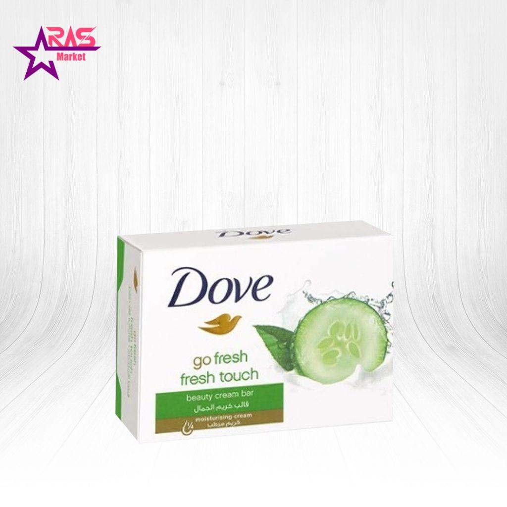 صابون داو مدل Fresh Touch حاوی عصاره خیار و چای سبز 100 گرم ، خرید اینترنتی محصولات شوینده و بهداشتی ، صابون حمام داو