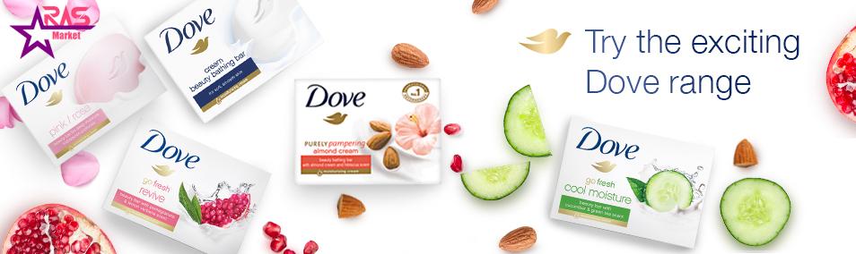 صابون داو مدل Fresh Touch حاوی عصاره خیار و چای سبز 100 گرم ، خرید اینترنتی محصولات شوینده و بهداشتی ، dove