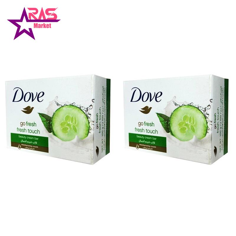 صابون داو مدل Fresh Touch حاوی عصاره خیار و چای سبز 100 گرم ، فروشگاه اینترنتی ارس مارکت ، صابون حمام دورو