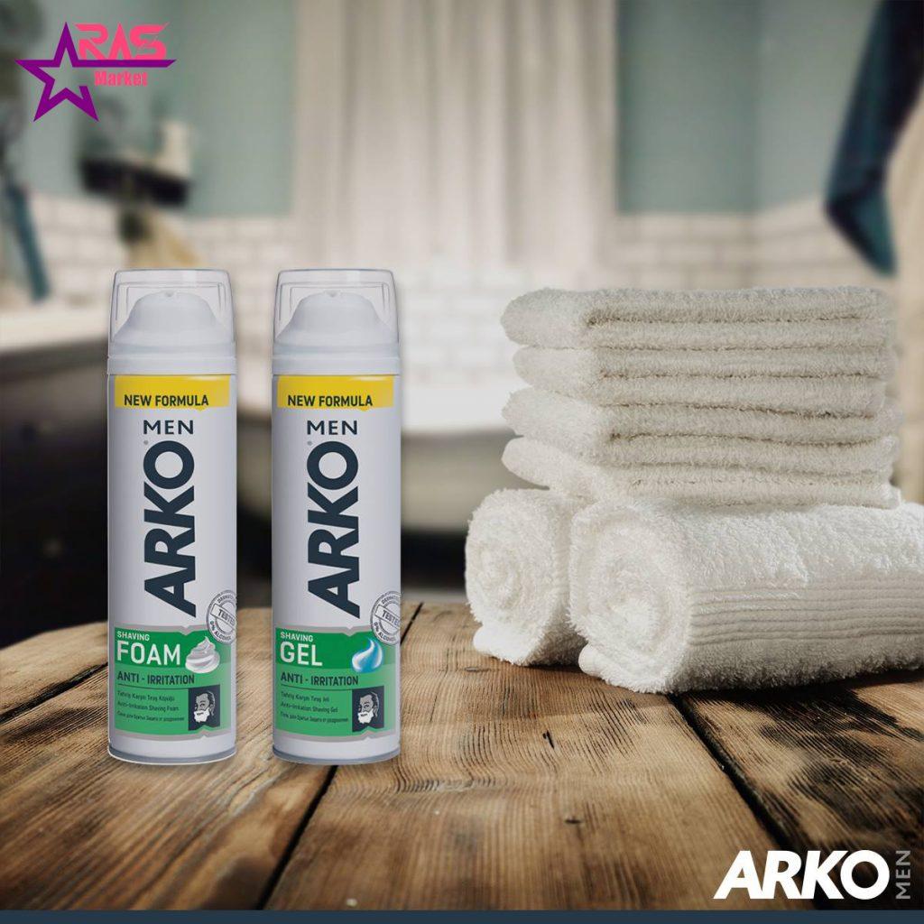 فوم اصلاح آرکو مدل Anti-Irritation حجم 200 میلی لیتر ، خرید اینترنتی محصولات شوینده و بهداشتی ، بهداشت آقایان ، arko men shaving foam