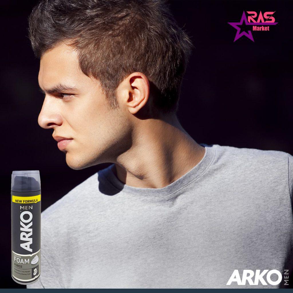 فوم اصلاح آرکو مدل Force حجم 200 میلی لیتر ، خرید اینتزنتی محصولات شوینده و بهداشتی ، بهداشت آقایان ، فوم اصلاح صورت arko men