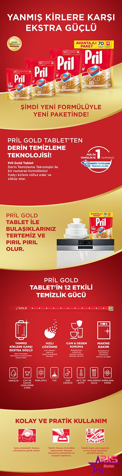قرص ماشین ظرفشویی پریل طلایی 70 عددی ، خرید اینترنتی محصولات شوینده و بهداشتی ، ارس مارکت ، pril dishwasher tablets