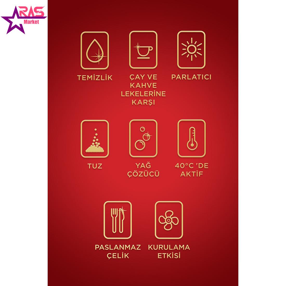 قرص ماشین ظرفشویی پریل طلایی 70 عددی ، فروشگاه اینترنتی ارس مارکت ، قرص ماشین ظرفشویی پریل مدل gold