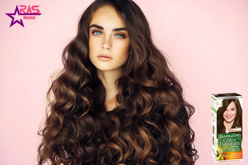 کیت رنگ مو گارنیر سری Color Naturals شماره 4 ، خرید اینترنتی محصولات شوینده و بهداشتی ، رنگ موی گارنیر ، garnier