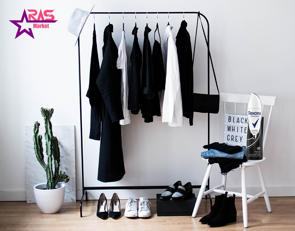 اسپری ضد تعریق رکسونا مدل Invisible On Black + White Clothes حجم 200 میلی لیتر ، خرید اینترنتی محصولات شوینده و بهداشتی ، اسپری بدن رکسونا