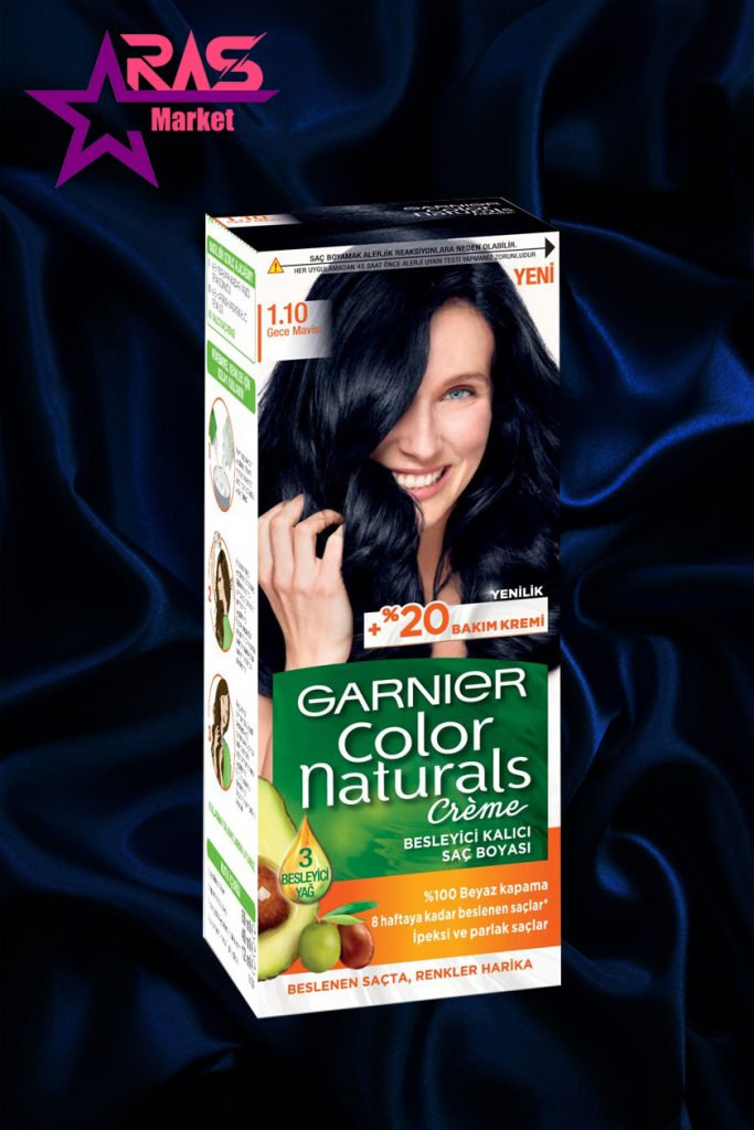 کیت رنگ مو گارنیر سری Color Naturals شماره 1.10 ، خرید اینترنتی محصولات شوینده و بهداشتی ، رنگ مو زنانه گارنیر