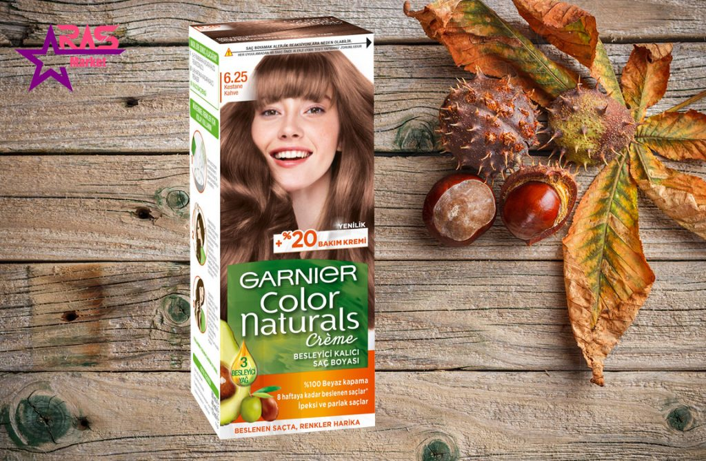 کیت رنگ مو گارنیر سری Color Naturals شماره 6.25 ، خرید اینترنتی محصولات شوینده و بهداشتی ، بهداشت بانوان ، رنگ موی زنانه گارنیر
