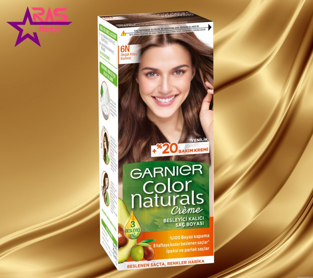 کیت رنگ مو گارنیر سری Color Naturals شماره 6N ، خرید اینترنتی محصولات شوینده و بهداشتی ، بهداشت بانوان ، رنگ موی گارنیر