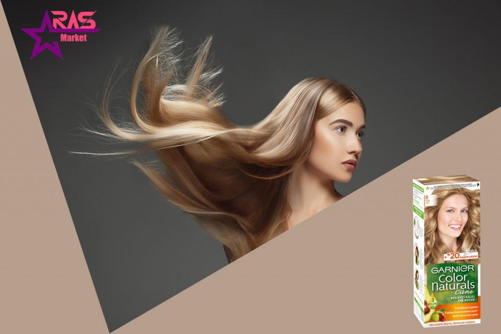 کیت رنگ مو گارنیر سری Color Naturals شماره 8 ، خرید اینترنتی محصولات شوینده و بهداشتی ، بهداشت بانوان ، ارس مارکت