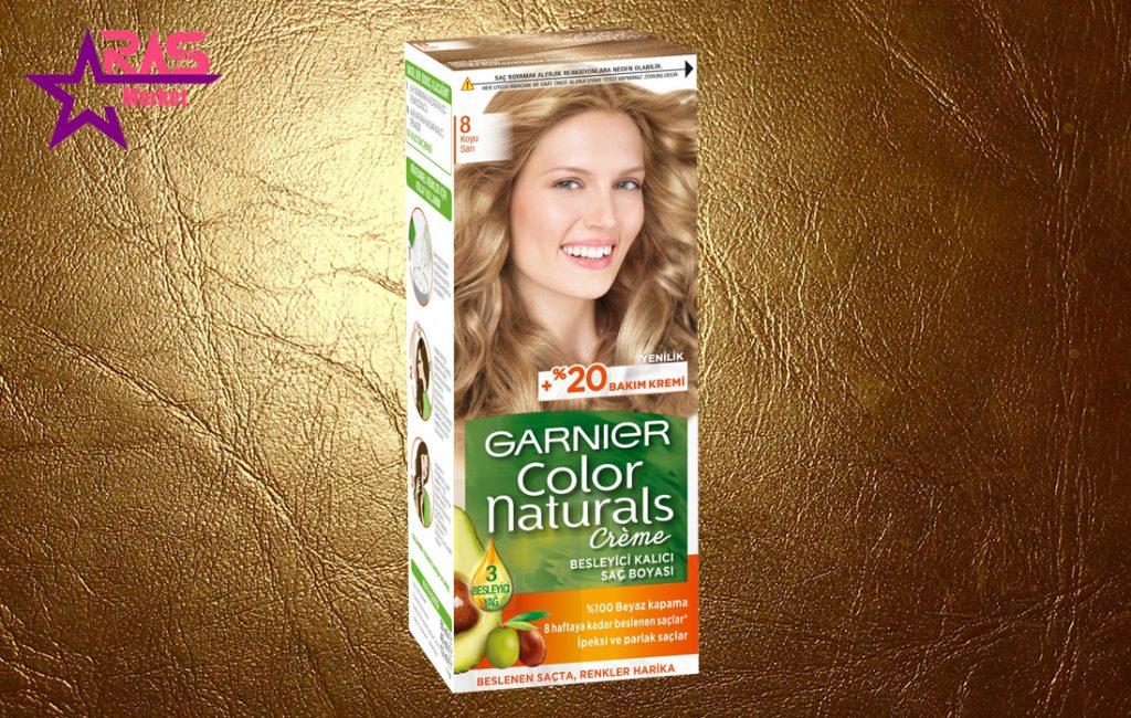 کیت رنگ مو گارنیر سری Color Naturals شماره 8 ، خرید اینترنتی محصولات شوینده و بهداشتی ، بهداشت بانوان ، رنگ مو زنانه گارنیر