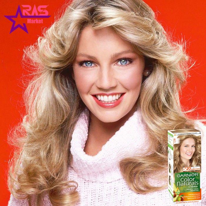 کیت رنگ مو گارنیر سری Color Naturals شماره 8 ، خرید اینترنتی محصولات شوینده و بهداشتی ، بهداشت بانوان ، کیت رنگ مو garnier