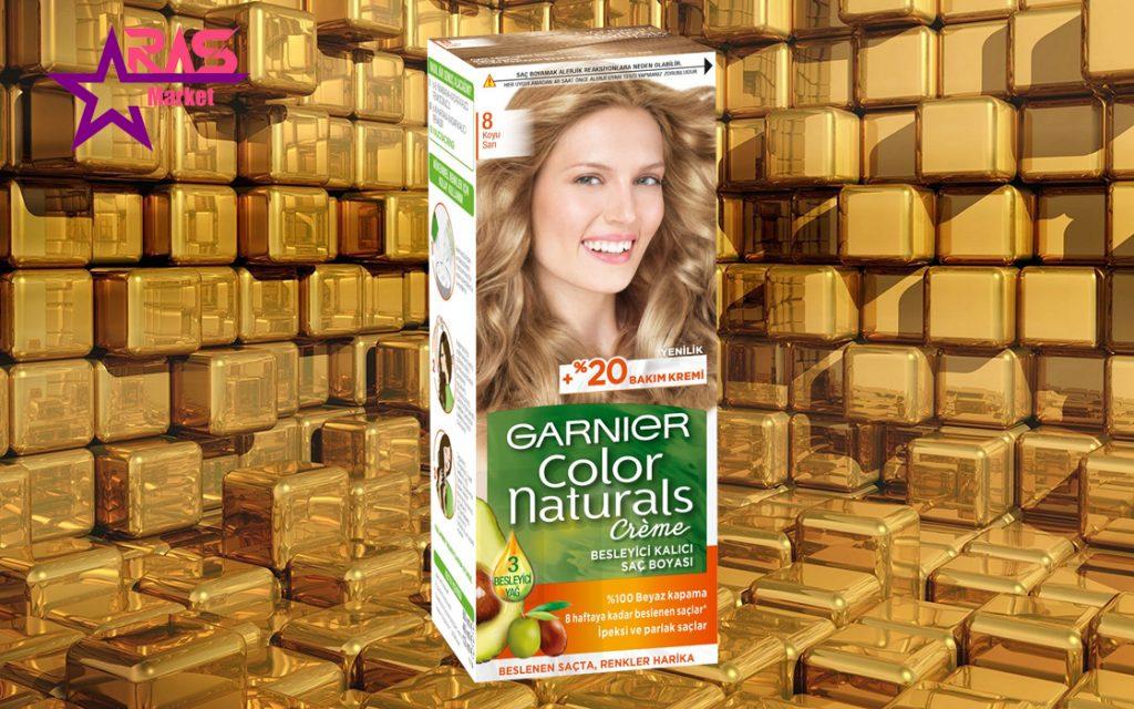 کیت رنگ مو گارنیر سری Color Naturals شماره 8 ، خرید اینترنتی محصولات شوینده و بهداشتی ، بهداشت بانوان