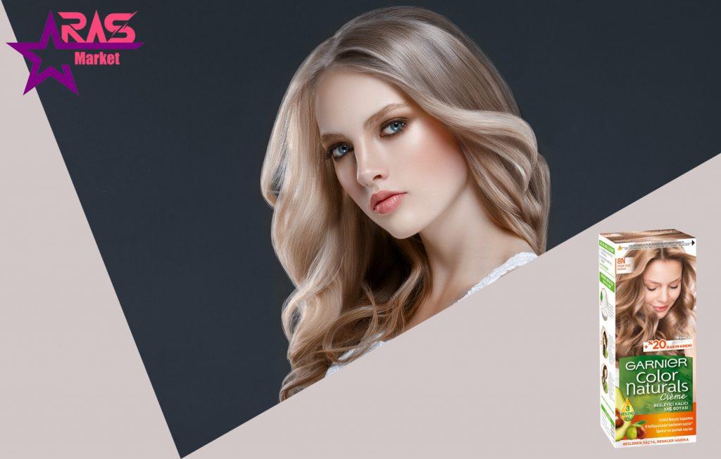 کیت رنگ مو گارنیر سری Color Naturals شماره 8N ، خرید اینترنتی محصولات شوینده و بهداشتی ، بهداشت بانوان ، ارس مارکت