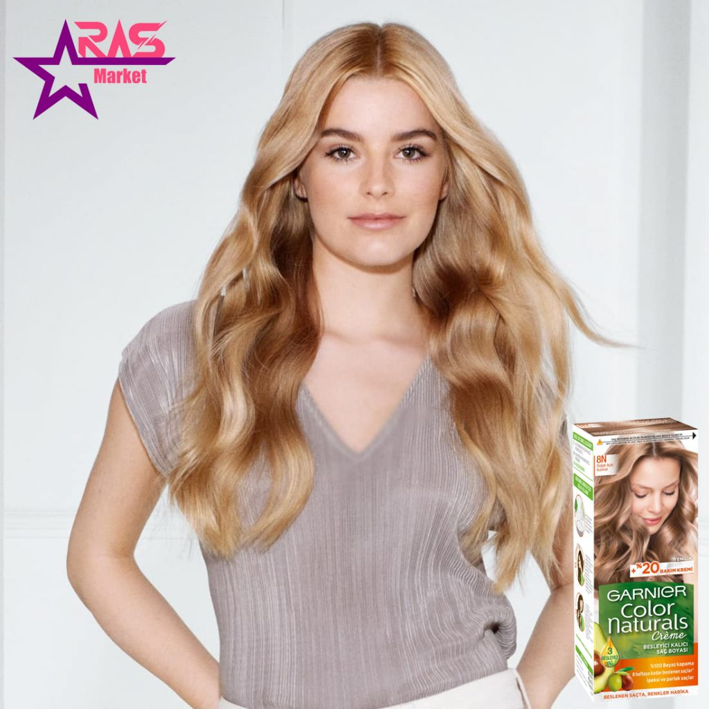 کیت رنگ مو گارنیر سری Color Naturals شماره 8N ، خرید اینترنتی محصولات شوینده و بهداشتی ، بهداشت بانوان ، رنگ مو garnier