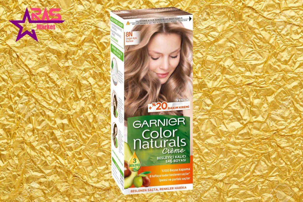 کیت رنگ مو گارنیر سری Color Naturals شماره 8N ، خرید اینترنتی محصولات شوینده و بهداشتی ، بهداشت بانوان ، کیت رنگ موی گارنیر