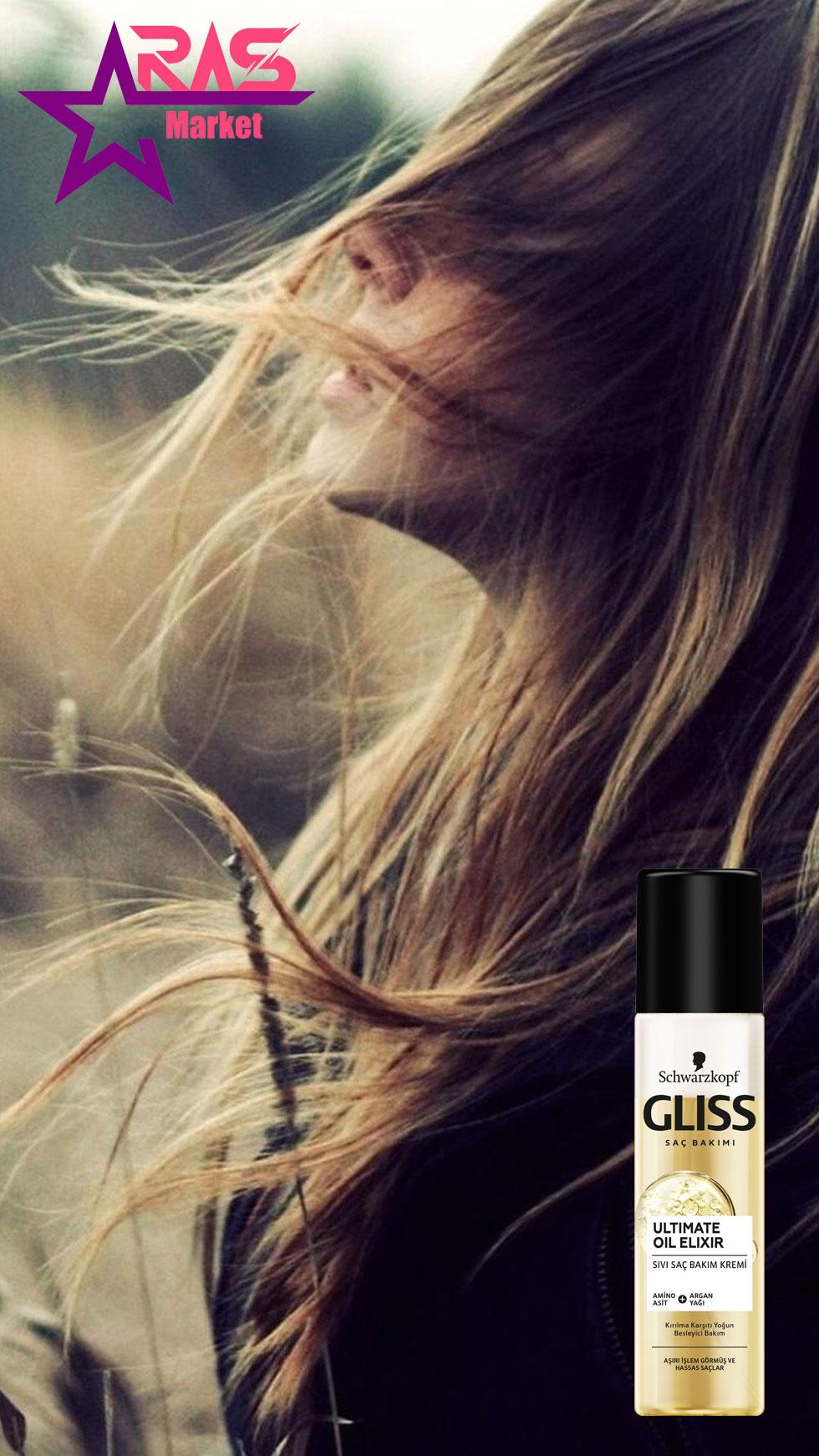 اسپری دو فاز گلیس مدل Ultimate Oil Elixir ترمیم و تقویت کننده مو 200 میلی لیتر ، خرید اینترنتی محصولات شوینده و بهداشتی ، اسپری مو گلیس