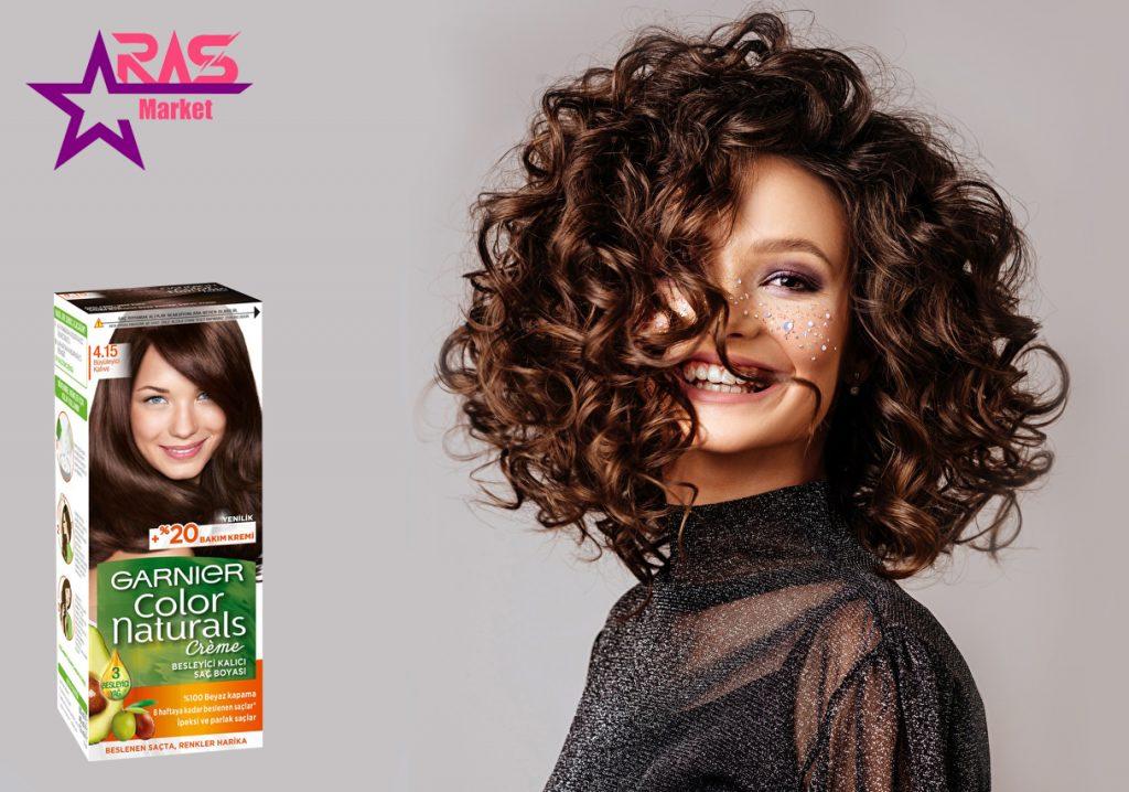 کیت رنگ مو گارنیر سری Color Naturals شماره 4.15 ، خرید اینترنتی محصولات شوینده و بهداشتی ، رنگ مو زنانه گارنیر