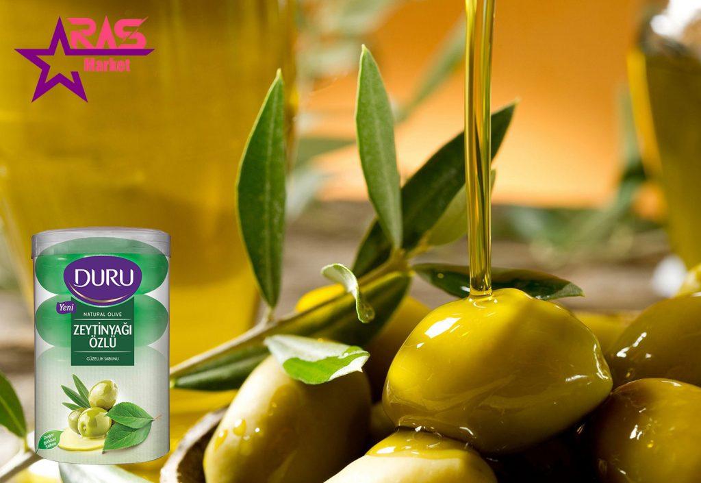 صابون دورو مدل Natural Olive حاوی عصاره روغن زیتون 4 عددی ، خرید اینترنتی محصولات اصل ترکیه ، duru