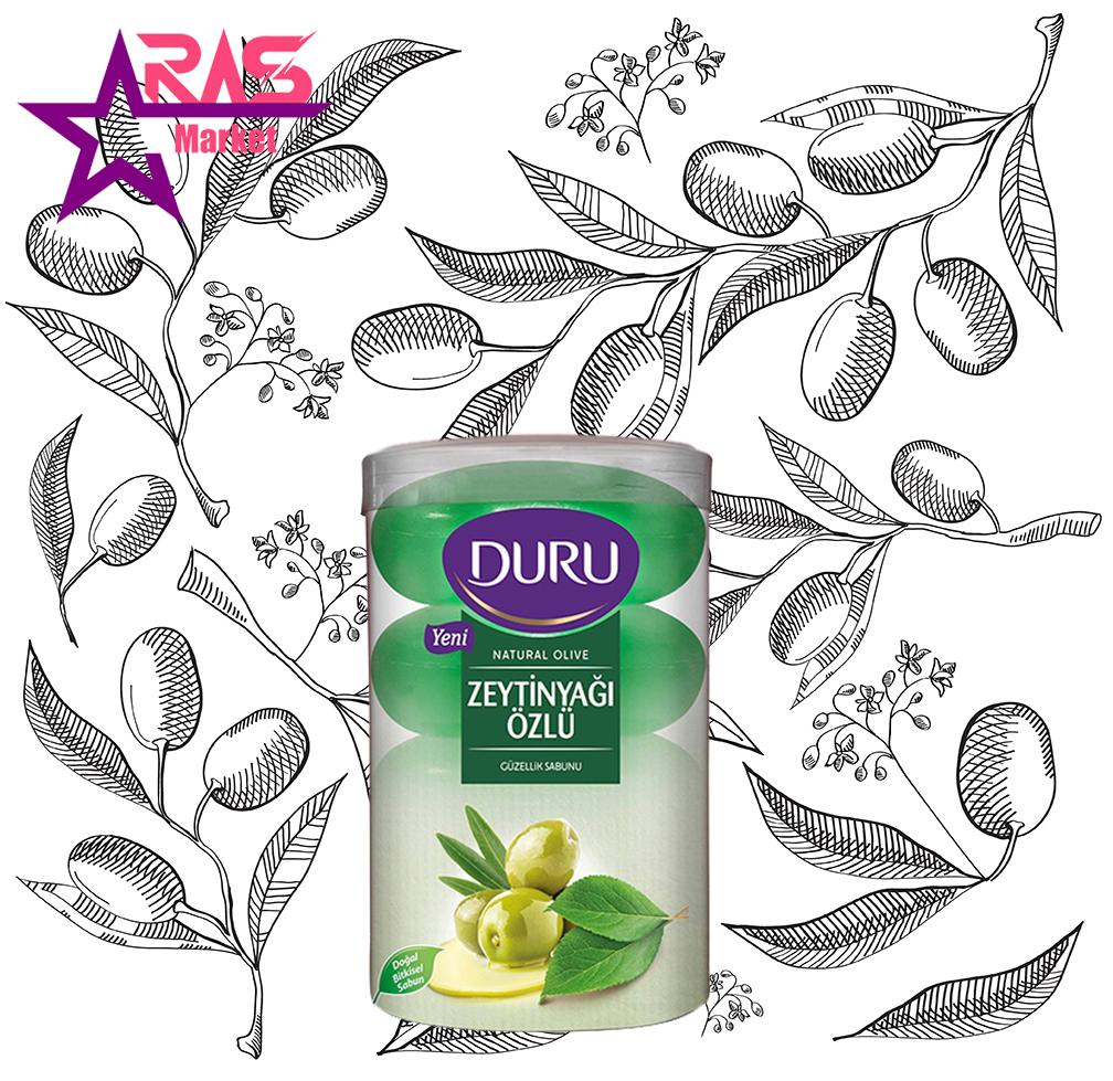 صابون دورو مدل Natural Olive حاوی عصاره روغن زیتون 4 عددی ، صابون حمام دورو با عصاره زیتون ، ارس مارکت