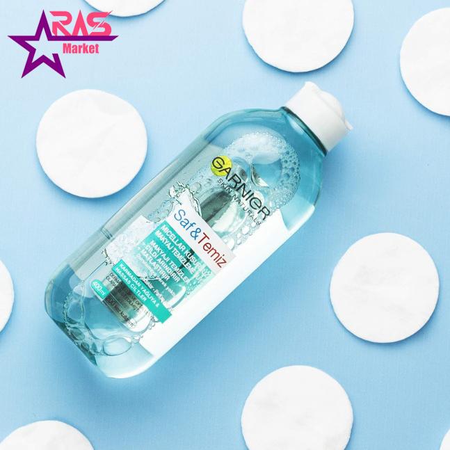 محلول آرایش پاک کن گارنیر مدل Saf & Temiz حجم 400 میلی لیتر ، فروشگاه اینترنتی ارس مارکت ، محلول پاک کننده آرایش گارنیر